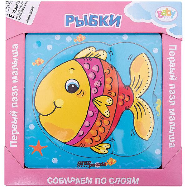 Многослойный пазл Step Puzzle Baby Step РыбкиПазлы для малышей<br>Характеристики товара:<br><br>• возраст: от 1 года;<br>• количество деталей: 6 шт.;<br>• материал: дерево;<br>• размер готовой картинки: 14 х 14 см.;<br>• размер упаковки: 19x19x1,5 см.;<br>• упаковка: картонная коробка открытого типа;<br>• бренд, страна производства: STEP puzzle, Россия.<br>                                                                                                                                                                                                                                                                                                                       <br>Деревянный пазл «Рыбки» привлекет внимание вашего малыша и поднимет настроение жизнерадостными образами. Игра с таким пазлом поможет ребенку в развитии логического мышления, воображения, памяти и мелкой моторики рук.<br><br>Данный пазл состоит из 6 ярких элементов и предлагает ребенку собрать красочную картинку с изображением милой рыбки. Представленная мозаика состоит из рамки, где нудно разместить элементы пазла, каждый слой которого будет интересной картинкой.<br><br>Деревянный пазл «Рыбки», 6 деталей,  STEP puzzle можно купить в нашем интернет-магазине.