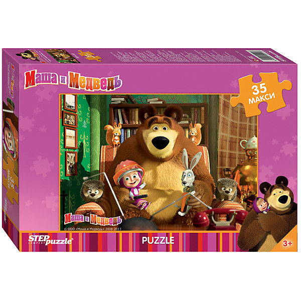 Пазл Maxi Step Puzzle Маша и Медведь, 35 элементовМаша и Медведь<br>Характеристики товара:<br><br>• возраст: от 3 лет;<br>• количество элементов: 35;<br>• материал: картон;<br>• размер собранного пазла: 68х48 см;<br>• упаковка: картонная коробка;<br>• размер упаковки: 40х27х5,5 см;<br>• бренд, страна производства: STEP puzzle, Россия.<br><br>Макси-пазл «Маша и Медведь» состоит из 35 крупных и ярких элементов, которые образуют чудесную картинку с изображением любимых героев из одноименного мультфильма.<br><br>Пазл упакован в картонную коробку с изображением основной картинки, на которую удобно ориентироваться при сборке. Большие детали позволяют самостоятельно собирать картинку даже маленьким детям.<br><br>Пазл сделан из прочных и качественных, нетоксичных и гипоаллергенных материалов. Собирая пазл, ребенок будет развивать концентрацию внимания, память, визуальное восприятие, логическое мышление и мелкую моторику рук.<br><br>Макси-пазл «Маша и Медведь», 35 элементов можно купить в нашем интернет-магазине.<br>Ширина мм: 400; Глубина мм: 270; Высота мм: 55; Вес г: 780; Возраст от месяцев: 36; Возраст до месяцев: 2147483647; Пол: Унисекс; Возраст: Детский; SKU: 7338435;
