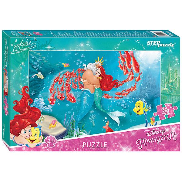 Пазл Maxi Step Puzzle Disney Принцессы. Русалочка-2, 35 элементовПринцессы Дисней<br>Характеристики товара:<br><br>• возраст: от 3 лет;<br>• количество элементов: 35;<br>• материал: картон;<br>• размер собранного пазла: 68х48 см;<br>• упаковка: картонная коробка;<br>• размер упаковки: 40х27х5,5 см;<br>• бренд, страна производства: STEP puzzle, Россия.<br><br>Макси-пазл «Русалочка - 2» состоит из 35 крупных и ярких элементов, которые образуют чудесную картинку с изображением любимых героев Disney - Русалочки и ее друзей.<br><br>Пазл упакован в картонную коробку с изображением основной картинки, на которую удобно ориентироваться при сборке. Большие детали позволяют самостоятельно собирать картинку даже маленьким детям.<br><br>Пазл сделан из прочных и качественных, нетоксичных и гипоаллергенных материалов. Собирая пазл, ребенок будет развивать концентрацию внимания, память, визуальное восприятие, логическое мышление и мелкую моторику рук.<br><br>Макси-пазл «Русалочка - 2», 35 элементов можно купить в нашем интернет-магазине.<br>Ширина мм: 400; Глубина мм: 270; Высота мм: 55; Вес г: 780; Возраст от месяцев: 36; Возраст до месяцев: 2147483647; Пол: Женский; Возраст: Детский; SKU: 7338442;