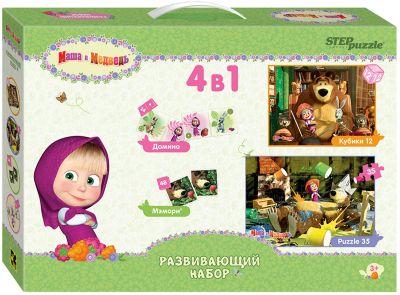 Развивающий набор 4 в 1 Step Puzzle  Маша и Медведь , артикул:7338448 - Пазлы