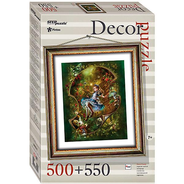 Пазл Step Puzzle Алиса, 500 элементов+рамкаПазлы классические<br>Характеристики товара:<br><br>• возраст: от 7 лет;<br>• количество деталей: 1050;<br>• размер собранной картины: 48,5х41 см.;<br>• материал: пластмасса;<br>• размер упаковки: 40x27x5,5 см.;<br>• упаковка: картонная каробка;<br>• бренд, страна производства: STEP puzzle, Россия.<br>                                                                                                                                                                                                                                                                                                                       <br>Пазл пластиковый «Алиса» представлен как картина в рамке. На готовой картине вы получите изображение маленькой Алисы из Страны чудес. <br><br>Пазл, несомненно, понравится ребенку и погрузит его в красочный мир сказок. Пазл состоит из 1050 элементов, 500 из которых - это картина, а 550 - это детали рамки. Полученной картиной можно украсить интерьер детской комнаты или гостиной. <br><br>Собирание пазлов это не только интересно, но и полезно: ведь в процессе создания картинки развивается мелкая моторика, тренируются наблюдательность и логическое мышление.<br><br>Пазл пластиковый «Алиса», с рамкой, 1050 деталей можно купить в нашем интернет-магазине.<br>Ширина мм: 400; Глубина мм: 270; Высота мм: 55; Вес г: 867; Возраст от месяцев: 84; Возраст до месяцев: 2147483647; Пол: Унисекс; Возраст: Детский; SKU: 7338460;