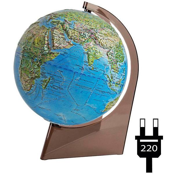 Глобусный Мир Глобус Земли «Двойная карта» рельефный с подсветкой на треугольнике глобусы глобусный мир глобус физико политический рельефный 21 см с подсветкой