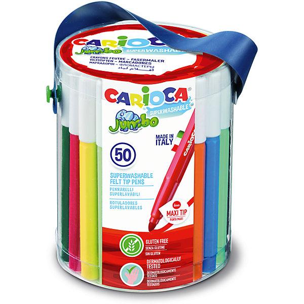 Набор фломастеров CARIOCA JUMBO, 50 шт., в пластиковом боксеФломастеры<br>Характеристики товара:<br><br>• Возраст: от 3 лет;<br>• Количество цветов: 50;<br>• Толщина линии письма: 6 мм;<br>• Тип упаковки: пластиковый бокс;<br>• Количество в упаковке: 50 шт.;<br>• Шестигранный корпус<br>• Нетоксичные<br>• Суперсмываемые - cмываются с кожи без мыла<br>• Вентилируемый колпачок<br>• Ударопрочный пишущий узел<br>• Дерматологически протестированы<br>• Размер упаковки: 9х9х15 см;<br>• Вес: 792 гр.;<br>• Страна происхождения: Италия.<br><br>Набор фломастеров CARIOCA JUMBO, 50 цв., в пластиковом боксе можно купить в нашем интернет-магазине.<br>Ширина мм: 90; Глубина мм: 90; Высота мм: 150; Вес г: 791; Возраст от месяцев: 36; Возраст до месяцев: 2147483647; Пол: Унисекс; Возраст: Детский; SKU: 7340763;