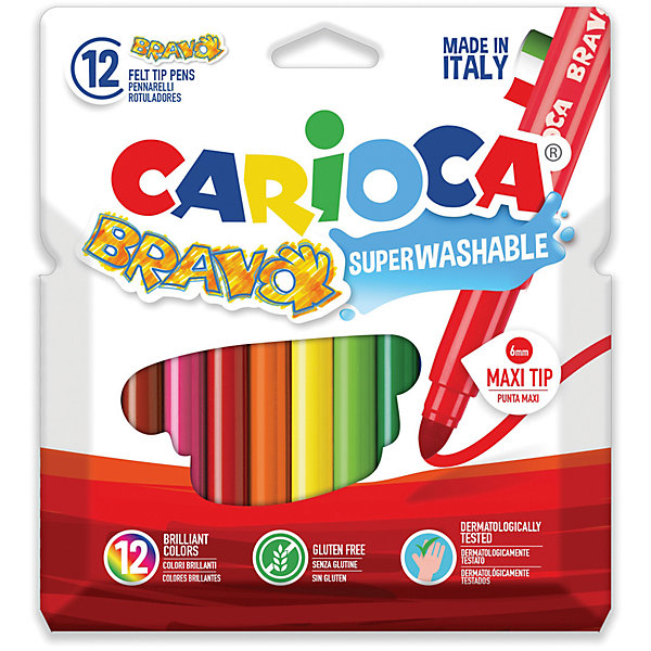 Набор фломастеров CARIOCA BRAVO, 12 цв., в картонном конверте с европодвесомФломастеры<br>Характеристики товара:<br><br>• Возраст: от 3 лет;<br>• Количество цветов: 12<br>• Толщина линии письма: 6 мм<br>• Тип упаковки: картонный конверт с европодвесом<br>• Количество в упаковке: 12 шт.<br>• Суперсмываемые<br>• Вентилируемый колпачок<br>• Ударопрочный пишущий узел<br>• Не содержат глютен<br>• Размер упаковки: 10х1х15 см;<br>• Вес: 138 гр.;<br>• Страна происхождения: Италия.<br><br>Набор фломастеров CARIOCA BRAVO, 12 цв., в картонном конверте с европодвесом можно купить в нашем интернет-магазине.<br>Ширина мм: 100; Глубина мм: 10; Высота мм: 150; Вес г: 137; Возраст от месяцев: 36; Возраст до месяцев: 2147483647; Пол: Унисекс; Возраст: Детский; SKU: 7340770;