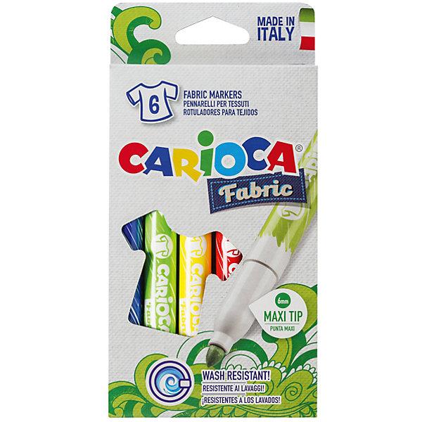 Carioca Набор фломастеров по текстилю CARIOCA, 6 цв., в картонной коробке с европодвесом набор фломастеров carioca acquarell 12 цв в картонной коробке с европодвесом