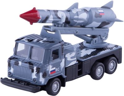 ТЕХНОПАРК Металлическая машина Технопарк ГАЗ 66 грузовик с ракетой, 12 см (серый камуфляж) машины технопарк машина газ чайка такси