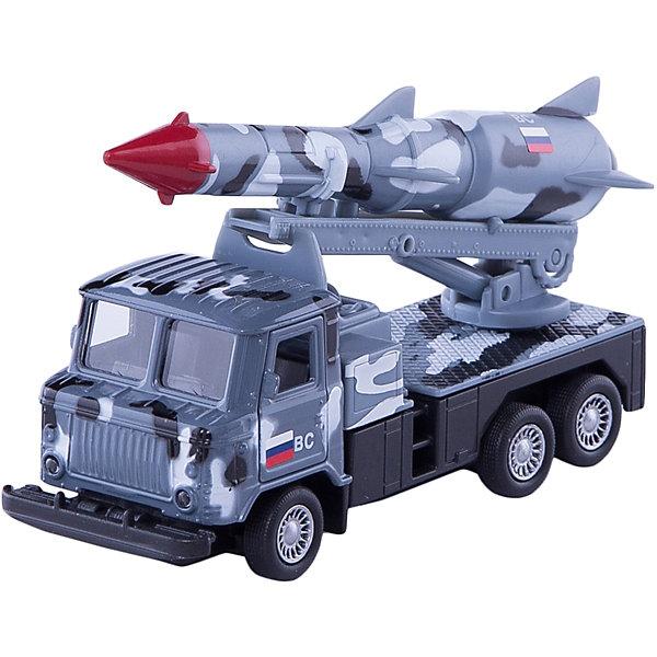 ТЕХНОПАРК Металлическая машина Технопарк ГАЗ 66 грузовик с ракетой, 12 см (серый камуфляж)