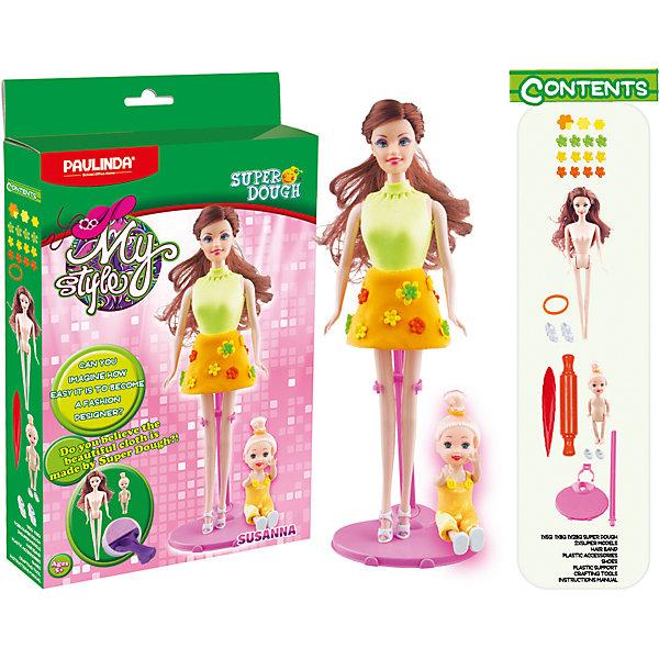 Масса для лепки Paulinda Мой стиль: Наряд для куклы, СюзаннаНаборы для лепки игровые<br>Характеристики:<br><br>• набор для лепки;<br>• создание пластилиновых нарядов для кукол;<br>• развитие фантазии, образного мышления, мелкой моторики пальчиков;<br>• содержимое набора: 2 куклы, подставка для куклы-мамы, масса для лепки, аксессуары;<br>• размер упаковки: 22х5х37 см;<br>• вес: 452 г.<br><br>Набор для творчества «Сюзанна» из серии «Мой стиль» предлагает девочкам почувствовать себя настоящим модельером. В наборе содержится 2 куколки, которым можно создавать одежду, обувь и аксессуары из массы для лепки. Разноцветный пластилин позволяет использовать разные цвета для декорирования нарядов. У куколок волосы изготовлены из нейлона, расчесываются, можно делать прически. Кукла-мама стоит на специальной подставке. Масса для лепки легко отделяется от кукол, новые наряды можно создавать снова и снова. <br><br>Массу для лепки «Мой стиль» Сюзанна, набор для создания наряда для куклы Paulinda можно купить в нашем интернет-магазине.<br>Ширина мм: 218; Глубина мм: 52; Высота мм: 372; Вес г: 452; Возраст от месяцев: 60; Возраст до месяцев: 180; Пол: Женский; Возраст: Детский; SKU: 7345752;