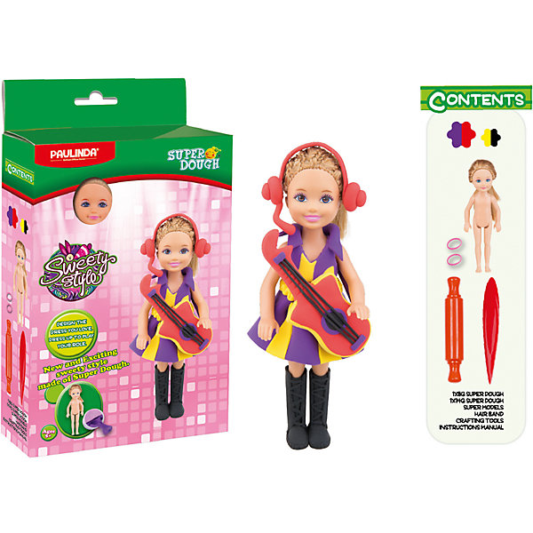 Масса для лепки Paulinda Создай свой стиль: Наряд для куклы, Рок-звездаНаборы для лепки игровые<br>Характеристики:<br><br>• набор для лепки;<br>• создание нарядов из пластилина для куклы;<br>• развитие фантазии, образного мышления, мелкой моторики пальчиков;<br>• содержимое набора: кукла 14 см, масса для лепки, аксессуары для работы с массой; <br>• размер упаковки: 16х5х28,5 см;<br>• вес: 275 г.<br><br>Создание одежки для куколки – увлекательное и творческое занятие. Девочка использует массу для лепки, наличие в наборе разных цветов которой дают возможность совмещать и комбинировать. Куколка высотой 14 см с пластиковым туловищем и конечностями имеет нейлоновые волосы, которые можно легко расчесывать и создавать прически. В процессе игры развивается способность творчески мыслить, создавать фантастические наряды для куклы и декорировать готовые изделия. <br><br>Массу для лепки «Создай свой стиль», набор для создания наряда для куклы Paulinda можно купить в нашем интернет-магазине.<br>Ширина мм: 160; Глубина мм: 48; Высота мм: 285; Вес г: 275; Возраст от месяцев: 60; Возраст до месяцев: 180; Пол: Женский; Возраст: Детский; SKU: 7345759;