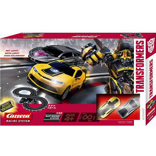 Автотрек Carrera GO!!! Трансформеры Racing System, 1:43Автотреки<br>Характеристики товара:<br><br>• в комплекте: трек, 2 машинки, 2 пульта;<br>• возраст: от 4 лет;<br>• масштаб: 1:43;<br>• длина трассы: 2,34 м;<br>• размер трека в собранном виде: 95х46 см;<br>• материал: пластик, металл;<br>• батарейки: D/LR20 1,5V - 4 шт. (не входят в комплект);<br>• размер упаковки: 50х30х7 см;<br>• страна бренда: Австрия.<br><br>Автотрек от Carrera порадует любителей известных Трансформеров. В комплект входят детали трека, 2 пульта управления и 2 машинки, выполненные в стиле Бамблби и Локдауна. Машинки имеют яркую подсветку, которая сделает гонки захватывающими и эффектными. Дети смогут управлять любимыми героями при помощи пультов управления. <br><br>Питание трека происходит не от сети, а от батареек, благодаря чему дети смогут устраивать гонки не только дома, но и на улице в сухую погоду. Все игрушки изготовлены и высококачественных, безвредных материалов.<br><br>Автотрек Трансформеры батарейки, Carrera (Каррера) можно купить в нашем интернет-магазине.<br>Ширина мм: 70; Глубина мм: 500; Высота мм: 300; Вес г: 1444; Возраст от месяцев: 72; Возраст до месяцев: 2147483647; Пол: Мужской; Возраст: Детский; SKU: 7360166;