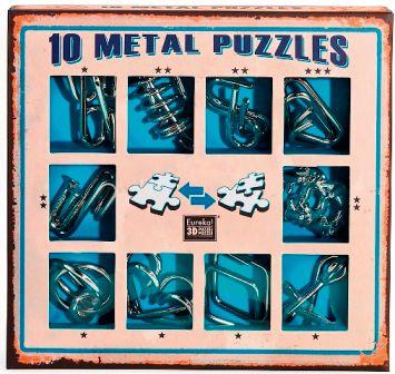 Набор из 10 металлических головоломок (синий), артикул:7363346 - Головоломки
