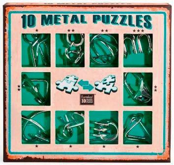 Набор из 10 металлических головоломок (зеленый), артикул:7363347 - Головоломки