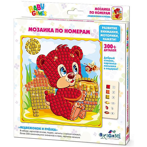 Мозайка по номерам Origami Медвежонок и пчелкаКартины пайетками<br>Характеристики товара:<br><br>• возраст: от 3 лет;<br>• в комплекте: картонная основа, подвес, магниты с клейкой основой, стразы, картинка-малышка;<br>• размер упаковки: 23х21х1,6 см;<br>• вес упаковки: 130 гр.;<br>• страна бренда: Россия.<br><br>Мозаика по номерам Медвежонок и пчелка от производителя Origami подарит детям возможность окунуться в творческий процесс и создать красивую картину самостоятельно.<br><br> В наборе ребенок найдет более трехсот разноцветных самоклеящихся страз, а также картонную основу, подвес, магниты с клейкой основой. <br><br>К тому же в комплект включены картинка-малышка и добрый стишок. Такое интересное занятие позволит ребенку увлекательно проводить время, а также развивать воображение и творческие способности.<br>Ширина мм: 205; Глубина мм: 230; Высота мм: 15; Вес г: 130; Возраст от месяцев: 48; Возраст до месяцев: 2147483647; Пол: Унисекс; Возраст: Детский; SKU: 7364897;
