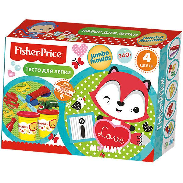 Набор для лепки Jumbo moulds  Fisher PriceНаборы для лепки игровые<br>Характеристики:<br><br>• количество: 4шт.;<br>• материал упаковки: картон;<br>• упаковка: коробка;<br>• размер упаковки: 26х7х7см.;<br>• вес: 340г.;<br>• для детей в возрасте: от года.;<br>• страна производитель: Китай.<br><br>Набор теста для лепки Fisher Price (Фишер Прайс) бренда «Limpopo» (Лимпопо), станет отличным приобретением для малышей. Он создан из качественных, экологически чистых материалов, что очень важно для детских товаров.<br><br>Набор состоит из четырёх баночек теста разного цвета, пяти формочек, пресса с насадками, скалки и шпателя. Специальная структура создана для малышей любящих лепить поделки своими руками. В её состав входят только пищевые красители на водной основе имеющие солёный вкус, что совершенно безопасно для ребёнка. Готовая поделка высыхает в течение суток и сохраняет яркость.<br><br> Лепка из теста доставляет большое удовольствие маленькому ребёнку, развивает его тактильные навыки, мелкую моторику и воображение.<br><br>Набор теста для лепки Fisher Price (Фишер Прайс) можно купить в нашем интернет-магазине.<br>Ширина мм: 220; Глубина мм: 300; Высота мм: 70; Вес г: 787; Возраст от месяцев: 12; Возраст до месяцев: 72; Пол: Унисекс; Возраст: Детский; SKU: 7365737;