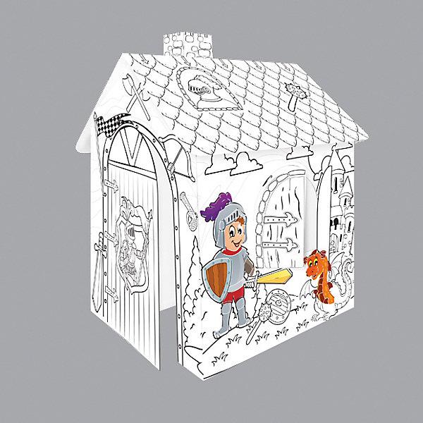 Mochtoys Игровой картонный домик-раскраска Рыцарь,Mochtoys домик из картона сказочный замок картонный папа