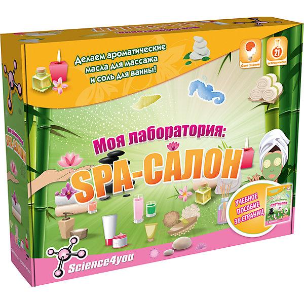 Science4you Набор опытов «Моя лаборатория: SPA-салон»Наборы детской косметики<br>Характеристики товара:<br><br>• возраст: от 8 лет<br>• материалы: картон, пластик, реагенты.<br>• размер упаковки: 39 x 28 x 9 см.<br>• упаковка: картонная коробка.<br>• страна бренда: Португалия.<br><br>• Комплект: учебное пособие 36 стр.; 6 соломинок; пара перчаток; 3 деревянные лопаточки; 2 пипетки Пастера; 2 больших мерных стаканчика; морская соль; ванильная и яблочная отдушки; жидкий глицерин; 2 косметических красителя; 3 контейнера с крышкой; 2 пластиковые формочки; ленточки; пластиковый контейнер.<br><br>Scince4you – это европейский бренд, который производит инновационные образовательные наборы, которые развивают познавательные навыки, способствуют исследовательскому любопытству, отвлекают от смартфона.<br><br>В повседневной жизни мы постоянно сталкиваемся с научными явлениями, сами того не замечая. Набор Моя лаборатория: СПА-салон в игровой форме познакомят девочку с наукой. Используя небольшую обучающую книгу и инструменты из комплекта, она узнает об истории возникновения купален и целебных свойствах воды, сможет провести множество увлекательных экспериментов, создаст косметику в домашних условиях: шипучие бомбочки для ванны, пену, соль, массажные масла, маски, бальзамы и скрабы. Настоящий домашний СПА-салон!<br><br>Science4you Набор опытов «Моя лаборатория: SPA-салон» можно купить в нашем интернет-магазине.<br>Ширина мм: 390; Глубина мм: 80; Высота мм: 290; Вес г: 995; Возраст от месяцев: 96; Возраст до месяцев: 2147483647; Пол: Унисекс; Возраст: Детский; SKU: 7376703;