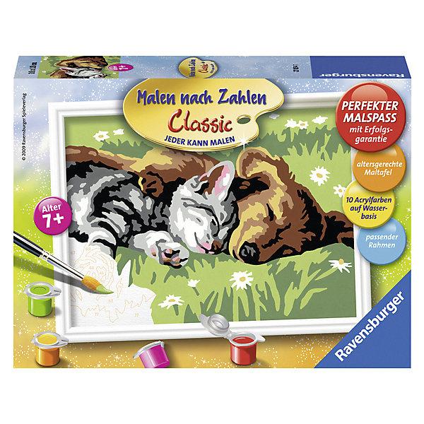 Раскрашивание по номерам «Сладкий сон» Размер картинки – 18*13 смСимвол года<br>Характеристики:<br><br>• тип игрушки: набор для детского творчества;<br>• комплектация: фактурная картонная основа с пронумерованными контурами, акриловые краски, кисть, контрольный лист, подставка для красок в форме палитры;<br>• бренд: Ravensburger;<br>• упаковка: картон;<br>• размер: 22х4,5х16 см;<br>• вес: 301 гр;<br>• размер картины: 18х13 см;<br>• возраст: от 9 лет;<br>• материал: картон, акрил, пластик.<br><br>Раскрашивание по номерам «Сладкий сон» станет отличным подарком как для взрослого, так и для ребенка от девяти лет. На данной картине изображены маленький котенок и щеночек, которые вместе дремлют на травке. <br><br>Рисовать картины в такой технике очень просто и доступно, даже если ребенок не имеет художественных навыков. Это связанно с тем, что полотно картины разбито на пронумерованные сектора, которым соответствует определенный цвет краски. Прежде чем приступить к раскрашиванию самой картины, можно будет потренироваться на отдельной палитре. Каждая баночка с красками плотно запечатана.<br><br>Такая картина станет отличным украшением интерьера и на долгое время увлечет ребенка. При этом с таким подарком у ребенка будет развиваться усидчивость и мелкая моторика рук.<br><br>Раскрашивание по номерам «Сладкий сон» можно купить в нашем интернет-магазине.<br>Ширина мм: 220; Глубина мм: 45; Высота мм: 160; Вес г: 301; Возраст от месяцев: -2147483648; Возраст до месяцев: 2147483647; Пол: Унисекс; Возраст: Детский; SKU: 7376752;