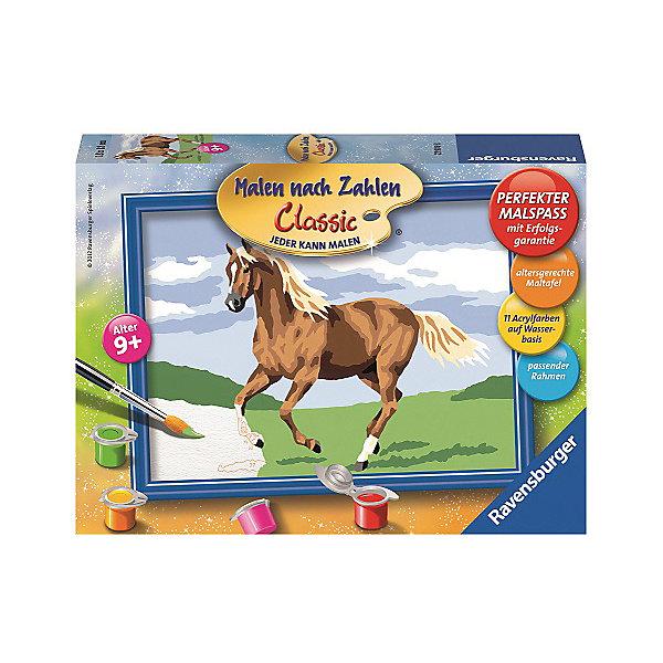 Раскрашивание по номерам «Лошадь в поле»Картины по номерам<br>Характеристики:<br><br>• тип игрушки: набор для детского творчества;<br>• комплектация: фактурная картонная основа с пронумерованными контурами, акриловые краски, кисть, контрольный лист, подставка для красок в форме палитры;<br>• бренд: Ravensburger;<br>• упаковка: картон;<br>• размер: 16х5х22 см;<br>• вес: 295 гр;<br>• возраст: от 9 лет;<br>• материал: картон, акрил, пластик.<br><br>Раскрашивание по номерам «Лошадь в поле» станет отличным подарком как для взрослого, так и для ребенка от девяти лет. На данной картине изображена лошадь бурого цвета с белыми пятнышками. Она резво бежит по полю. Ее грива красиво развиватся по ветру.   <br>Рисовать картины в такой технике очень просто и доступно, даже если ребенок не имеет художественных навыков. Это связанно с тем, что полотно картины разбито на пронумерованные сектора, которым соответствует определенный цвет краски. Прежде чем приступить к раскрашиванию самой картины, можно будет потренироваться на отдельной палитре. Каждая баночка с красками плотно запечатана.<br>Такая картина станет отличным украшением интерьера и на долгое время увлечет ребенка. При этом с таким подарком у ребенка будет развиваться усидчивость и мелкая моторика рук.<br><br>Раскрашивание по номерам «Лошадь в поле» можно купить в нашем интернет-магазине.<br>Ширина мм: 160; Глубина мм: 50; Высота мм: 220; Вес г: 295; Возраст от месяцев: -2147483648; Возраст до месяцев: 2147483647; Пол: Унисекс; Возраст: Детский; SKU: 7376756;