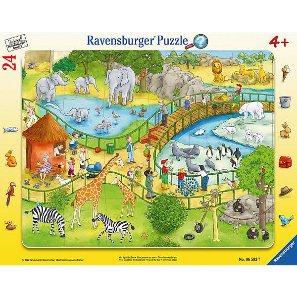 Пазл Весёлый зоопарк 24 штПазлы до 24 деталей<br>Характеристики:<br><br>• тип игрушки: пазл;<br>• комплектация: 24 эл.;<br>• бренд: Ravensburger;<br>• упаковка: картон;<br>• размер: 38х5х30 см;<br>• вес: 323 гр;<br>• возраст: от 3 лет;<br>• материал: картон.<br><br>Пазл «Весёлый зоопарк» 24 шт представляет из себя увлекательную игру для детей от трех лет. Набор состоит из 24 деталей, выполненных из высококачественного картона. <br>Это простой пазл, который рассчитан на младших детишек. На готовой картинке изображена территория зоопарка, где в просторных вольерах под сенью раскидистых деревьев обитают дикие животные. Сборка данного пазла сможет увлечь детей и поспособствовать развитию логического мышления и усидчивости. Собранный пазл можно повесить в рамке как  украшение. Собирание картинок-пазлов очень полезно для детей. Они развивают образное и логическое мышление, наблюдательность и внимательность, а также мелкую моторику и координацию движений рук.<br><br>Пазл «Весёлый зоопарк» 24 шт  можно купить в нашем интернет-магазине.<br>Ширина мм: 380; Глубина мм: 5; Высота мм: 300; Вес г: 323; Возраст от месяцев: -2147483648; Возраст до месяцев: 2147483647; Пол: Унисекс; Возраст: Детский; SKU: 7376809;