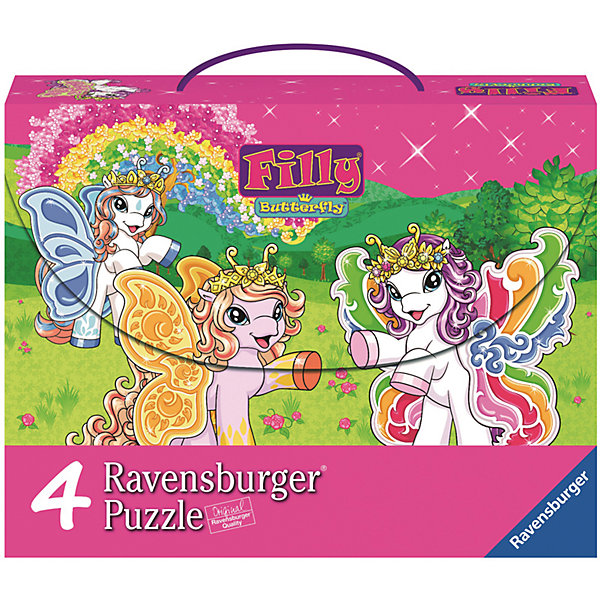Пазл 4 в 1 Филли Бабочки 2*64 шт и 2*81 шт#Filly Игры и пазлы<br>Характеристики:<br><br>• тип игрушки: пазл;<br>• комплектация: 290 эл.;<br>• бренд: Ravensburger;<br>• упаковка: картон;<br>• размер: 28,7х8х22,2 см;<br>• вес: 535 гр;<br>• возраст: от 3 лет;<br>• материал: картон.<br><br>Пазл 4 в 1 «Филли Бабочки» представляет из себя увлекательную игру для детей от трех лет. Набор состоит из 290 деталей, выполненных из высококачественного картона. <br>Это простой пазл, который рассчитан на младших детишек.  Набор состоит из четырех картинок, на каждой из которых изображены бабочки. Элементы изготовлены из качественных материалов, что позволяет многократно собирать и разбирать пазл. <br><br>Сборка данного пазла сможет увлечь детей и поспособствовать развитию логического мышления и усидчивости. Собранный пазл можно повесить в рамке как  украшение. Собирание картинок-пазлов очень полезно для детей. Они развивают образное и логическое мышление, наблюдательность и внимательность, а также мелкую моторику и координацию движений рук.<br><br>Пазл 4 в 1 «Филли Бабочки» можно купить в нашем интернет-магазине.<br>Ширина мм: 287; Глубина мм: 80; Высота мм: 222; Вес г: 535; Возраст от месяцев: -2147483648; Возраст до месяцев: 2147483647; Пол: Женский; Возраст: Детский; SKU: 7376814;