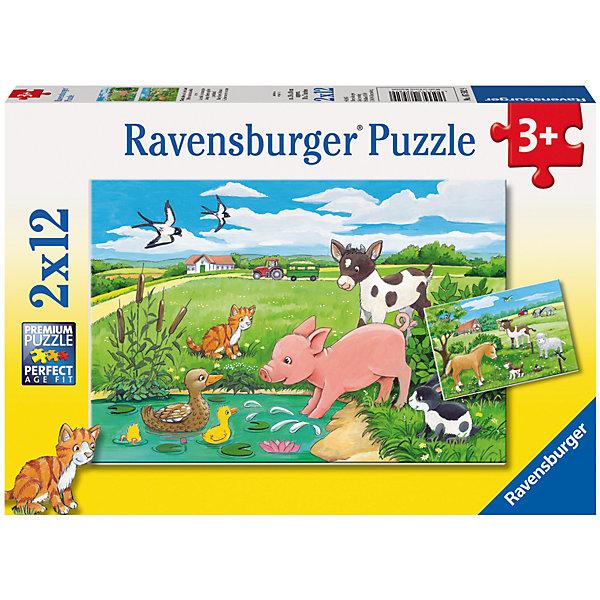 Ravensburger Пазл Детки фермерских животных 2х12 шт набор мини динозавры и пазл schleich набор мини динозавры и пазл