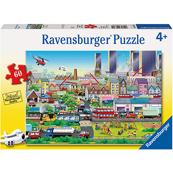 Пазл «Оживлённый город» 60 штПазлы до 64 деталей<br>Характеристики:<br><br>• тип игрушки: пазл;<br>• комплектация: 60 эл.;<br>• бренд: Ravensburger;<br>• упаковка: картон;<br>• размер: 28х4х19 см;<br>• вес: 392 гр;<br>• возраст: от 4 лет;<br>• материал: картон.<br><br>Пазл «Оживлённый город» 60 шт представляет из себя увлекательную игру для детей от четырех лет. Набор состоит из 60 деталей, выполненных из высококачественного картона. Из них предлагается собрать изображение городской жизни.<br><br>Пазл сделан из плотного картона, с нанесением яркого красочного рисунка и аккуратной вырубкой деталей с четкими гладкими краями, которые позволяют легко состыковывать элементы пазла между собой. Сборка данного пазла сможет увлечь детей и поспособствовать развитию логического мышления и усидчивости.  Они также развивают образное мышление, наблюдательность и внимательность, а также мелкую моторику и координацию движений рук.<br><br>Пазл «Оживлённый город» 60 шт можно купить в нашем интернет-магазине.<br>Ширина мм: 280; Глубина мм: 40; Высота мм: 190; Вес г: 392; Возраст от месяцев: -2147483648; Возраст до месяцев: 2147483647; Пол: Унисекс; Возраст: Детский; SKU: 7376857;