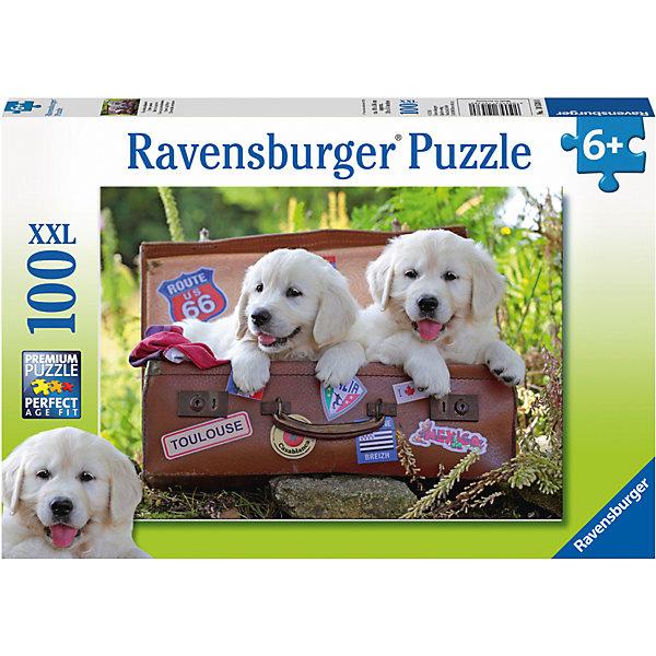 Пазл Щенки-путешественники XXL 100 штСимвол года<br>Характеристики:<br><br>• тип игрушки: пазл;<br>• комплектация: 100 эл.;<br>• бренд: Ravensburger;<br>• упаковка: картон;<br>• размер: 34х4х23 см;<br>• вес: 567 гр;<br>• возраст: от 6 лет;<br>• материал: картон.<br><br>Пазл «Щенки-путешественники» XXL 100 шт представляет из себя увлекательную игру для детей от шести лет. Набор состоит из 100 деталей, выполненных из высококачественного картона. Из них предлагается собрать изображение щенков. Головоломки Ravensburger всегда отличаются высоким качеством полиграфии, изготовлены из экологичного сырья.   Рисунок имеет матовую поверхность без бликов, напечатан на ламинированной бумаге. <br><br>Пазл сделан из плотного картона, с нанесением яркого красочного рисунка и аккуратной вырубкой деталей с четкими гладкими краями, которые позволяют легко состыковывать элементы пазла между собой. Сборка данного пазла сможет увлечь детей и поспособствовать развитию логического мышления и усидчивости.  Они также развивают образное мышление, наблюдательность и внимательность, а также мелкую моторику и координацию движений рук.<br><br>Пазл «Щенки-путешественники» XXL 100 шт можно купить в нашем интернет-магазине.<br>Ширина мм: 340; Глубина мм: 40; Высота мм: 230; Вес г: 567; Возраст от месяцев: -2147483648; Возраст до месяцев: 2147483647; Пол: Унисекс; Возраст: Детский; SKU: 7376869;