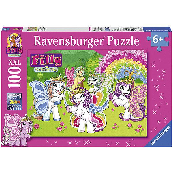 Пазл Филли XXL 100 шт#Filly Игры и пазлы<br>Характеристики:<br><br>• тип игрушки: пазл;<br>• комплектация: 100 эл.;<br>• бренд: Ravensburger;<br>• упаковка: картон;<br>• размер: 34х4х23 см;<br>• вес: 567 гр;<br>• возраст: от 6 лет;<br>• материал: картон.<br><br>Пазл «Филли» XXL 100 шт представляет из себя увлекательную игру для детей от шести лет. Набор состоит из 100 деталей, выполненных из высококачественного картона. Из них предлагается собрать изображение волшебных лошадок. Головоломки Ravensburger всегда отличаются высоким качеством полиграфии, изготовлены из экологичного сырья.   Рисунок имеет матовую поверхность без бликов, напечатан на ламинированной бумаге. <br><br>Пазл сделан из плотного картона, с нанесением яркого красочного рисунка и аккуратной вырубкой деталей с четкими гладкими краями, которые позволяют легко состыковывать элементы пазла между собой. Сборка данного пазла сможет увлечь детей и поспособствовать развитию логического мышления и усидчивости.  Они также развивают образное мышление, наблюдательность и внимательность, а также мелкую моторику и координацию движений рук.<br><br>Пазл «Филли» XXL 100 шт можно купить в нашем интернет-магазине.<br>Ширина мм: 340; Глубина мм: 40; Высота мм: 230; Вес г: 567; Возраст от месяцев: -2147483648; Возраст до месяцев: 2147483647; Пол: Женский; Возраст: Детский; SKU: 7376871;
