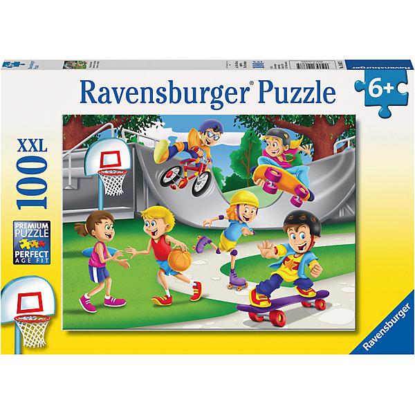 Пазл «Скейтборды» XXL 100 штПазлы для малышей<br>Характеристики:<br><br>• тип игрушки: пазл;<br>• комплектация: 100 эл.;<br>• бренд: Ravensburger;<br>• упаковка: картон;<br>• размер: 34х4х23 см;<br>• вес: 571 гр;<br>• возраст: от 6 лет;<br>• материал: картон.<br><br>Пазл «Скейтборды» XXL 100 шт представляет из себя увлекательную игру для детей от шести лет. Набор состоит из 100 деталей, выполненных из высококачественного картона. Из них предлагается собрать изображение детей, катающихся на скейтборде. Головоломки Ravensburger всегда отличаются высоким качеством полиграфии, изготовлены из экологичного сырья.   Рисунок имеет матовую поверхность без бликов, напечатан на ламинированной бумаге. <br><br>Пазл сделан из плотного картона, с нанесением яркого красочного рисунка и аккуратной вырубкой деталей с четкими гладкими краями, которые позволяют легко состыковывать элементы пазла между собой. Сборка данного пазла сможет увлечь детей и поспособствовать развитию логического мышления и усидчивости.  Они также развивают образное мышление, наблюдательность и внимательность, а также мелкую моторику и координацию движений рук.<br><br>Пазл «Скейтборды» XXL 100 шт можно купить в нашем интернет-магазине.<br>Ширина мм: 340; Глубина мм: 40; Высота мм: 230; Вес г: 571; Возраст от месяцев: -2147483648; Возраст до месяцев: 2147483647; Пол: Унисекс; Возраст: Детский; SKU: 7376876;