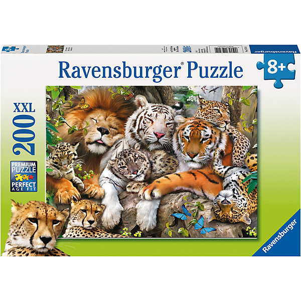 Пазл «Сон больших кошек» XXL 200 штПазлы классические<br>Характеристики:<br><br>• тип игрушки: пазл;<br>• комплектация: 200 эл.;<br>• бренд: Ravensburger;<br>• упаковка: картон;<br>• размер: 34х4х23 см;<br>• вес: 575 гр;<br>• возраст: от 8 лет;<br>• материал: картон.<br><br>Пазл «Сон больших кошек» XXL 200 шт представляет из себя увлекательную игру для детей от шести лет. Набор состоит из 200 деталей, выполненных из высококачественного картона. Из них предлагается собрать изображение спящих диких кошек. Головоломки Ravensburger всегда отличаются высоким качеством полиграфии, изготовлены из экологичного сырья.   Рисунок имеет матовую поверхность без бликов, напечатан на ламинированной бумаге. <br><br>Пазл сделан из плотного картона, с нанесением яркого красочного рисунка и аккуратной вырубкой деталей с четкими гладкими краями, которые позволяют легко состыковывать элементы пазла между собой. Сборка данного пазла сможет увлечь детей и поспособствовать развитию логического мышления и усидчивости.  Они также развивают образное мышление, наблюдательность и внимательность, а также мелкую моторику и координацию движений рук.<br><br>Пазл «Сон больших кошек» XXL 200 шт можно купить в нашем интернет-магазине.<br>Ширина мм: 340; Глубина мм: 40; Высота мм: 230; Вес г: 575; Возраст от месяцев: -2147483648; Возраст до месяцев: 2147483647; Пол: Унисекс; Возраст: Детский; SKU: 7376898;