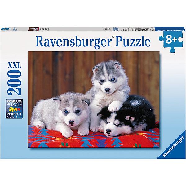 Пазл Маленькие хаски XXL 200 штПазлы классические<br>Характеристики:<br><br>• тип игрушки: пазл;<br>• комплектация: 200 эл.;<br>• бренд: Ravensburger;<br>• упаковка: картон;<br>• размер: 34х4х23 см;<br>• вес: 575 гр;<br>• возраст: от 6 лет;<br>• материал: картон.<br><br>Пазл «Маленькие хаски» XXL 200 шт представляет из себя увлекательную игру для детей от шести лет. Набор состоит из 200 деталей, выполненных из высококачественного картона. Из них предлагается собрать изображение маленьких щенков породы хаски. Головоломки Ravensburger всегда отличаются высоким качеством полиграфии, изготовлены из экологичного сырья.   Рисунок имеет матовую поверхность без бликов, напечатан на ламинированной бумаге. <br><br>Пазл сделан из плотного картона, с нанесением яркого красочного рисунка и аккуратной вырубкой деталей с четкими гладкими краями, которые позволяют легко состыковывать элементы пазла между собой. Сборка данного пазла сможет увлечь детей и поспособствовать развитию логического мышления и усидчивости.  Они также развивают образное мышление, наблюдательность и внимательность, а также мелкую моторику и координацию движений рук.<br><br>Пазл «Маленькие хаски» XXL 200 шт можно купить в нашем интернет-магазине.<br>Ширина мм: 340; Глубина мм: 40; Высота мм: 230; Вес г: 575; Возраст от месяцев: -2147483648; Возраст до месяцев: 2147483647; Пол: Унисекс; Возраст: Детский; SKU: 7376907;