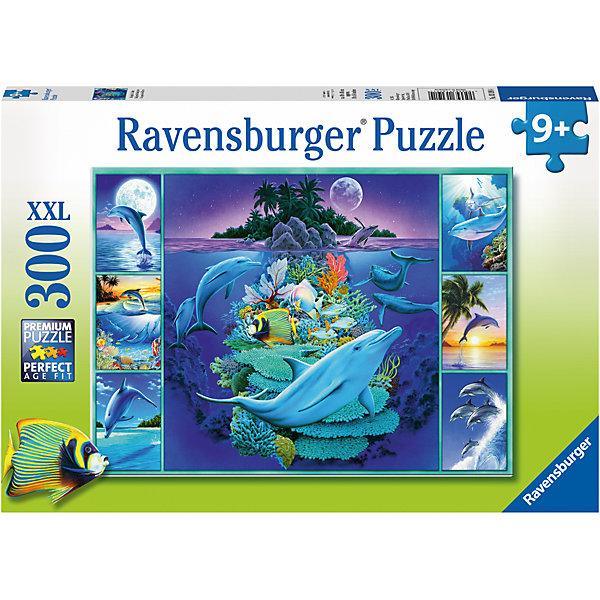 Пазл «Дельфины» XXL 300 штПазлы до 500 деталей<br>Характеристики:<br><br>• тип игрушки: пазл;<br>• комплектация: 300 эл;<br>• размер картинки: 49х36 см;<br>• бренд: Ravensburger;<br>• упаковка: картон;<br>• размер: 34х4х23 см;<br>• вес: 548 гр;<br>• возраст: от 6 лет;<br>• материал: картон.<br><br>Пазл «Дельфины» XXL 300 шт представляет из себя увлекательную игру для детей от шести лет. Набор состоит из 300 деталей, выполненных из высококачественного картона. Из них предлагается собрать изображение семи разных по размеру картин из жизни дельфинов. Тут и коралловые рифы, и другие жители океана, которые соседствуют рядом с дельфинами. Головоломки Ravensburger всегда отличаются высоким качеством полиграфии, изготовлены из экологичного сырья. Рисунок имеет матовую поверхность без бликов, напечатан на ламинированной бумаге. <br><br>Пазл сделан из плотного картона, с нанесением красочного рисунка и аккуратной вырубкой деталей с четкими гладкими краями, которые позволяют легко состыковывать элементы пазла между собой. Сборка данного пазла сможет увлечь детей и поспособствовать развитию логического мышления и усидчивости.  Они также развивают образное мышление, наблюдательность и внимательность, а также мелкую моторику и координацию движений рук.<br><br>Пазл «Дельфины» XXL 300 шт можно купить в нашем интернет-магазине.<br>Ширина мм: 340; Глубина мм: 40; Высота мм: 230; Вес г: 548; Возраст от месяцев: -2147483648; Возраст до месяцев: 2147483647; Пол: Унисекс; Возраст: Детский; SKU: 7376923;