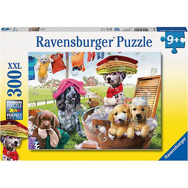 Пазл «Большая стирка» XXL 300 штПазлы классические<br>Характеристики:<br><br>• тип игрушки: пазл;<br>• комплектация: 300 эл;<br>• размер картинки: 49х36 см;<br>• бренд: Ravensburger;<br>• упаковка: картон;<br>• размер: 34х4х23 см;<br>• вес: 548 гр;<br>• возраст: от 6 лет;<br>• материал: картон.<br><br>Пазл «Большая стирка» XXL 300 шт представляет из себя увлекательную игру для детей от шести лет. Набор состоит из 300 деталей, выполненных из высококачественного картона. Из них предлагается собрать изображение щеночков, которые принимают участие в настоящей большой и очень веселой стирке. Головоломки Ravensburger всегда отличаются высоким качеством полиграфии, изготовлены из экологичного сырья. Рисунок имеет матовую поверхность без бликов, напечатан на ламинированной бумаге. <br><br>Пазл сделан из плотного картона, с нанесением красочного рисунка и аккуратной вырубкой деталей с четкими гладкими краями, которые позволяют легко состыковывать элементы пазла между собой. Сборка данного пазла сможет увлечь детей и поспособствовать развитию логического мышления и усидчивости.  Они также развивают образное мышление, наблюдательность и внимательность, а также мелкую моторику и координацию движений рук.<br><br>Пазл «Большая стирка» XXL 300 шт можно купить в нашем интернет-магазине.<br>Ширина мм: 340; Глубина мм: 40; Высота мм: 230; Вес г: 548; Возраст от месяцев: -2147483648; Возраст до месяцев: 2147483647; Пол: Унисекс; Возраст: Детский; SKU: 7376927;