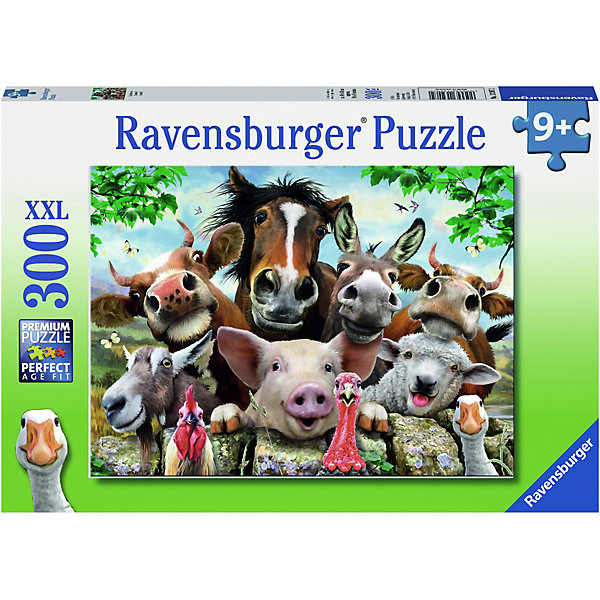 Пазл Улыбнитесь! XXL 300 штПазлы до 500 деталей<br>Характеристики:<br><br>• тип игрушки: пазл;<br>• комплектация: 300 эл;<br>• размер картинки: 49х36 см;<br>• бренд: Ravensburger;<br>• упаковка: картон;<br>• размер: 34х4х23 см;<br>• вес: 548 гр;<br>• возраст: от 6 лет;<br>• материал: картон.<br><br>Пазл «Улыбнитесь!» XXL 300 шт представляет из себя увлекательную игру для детей от шести лет. Набор состоит из 300 деталей, выполненных из высококачественного картона. Из них предлагается собрать изображение животных из фермы, которые весело улыбаются. Среди них и смешной ослик, и улыбчивая свинка, и добрая коровка. Головоломки Ravensburger всегда отличаются высоким качеством полиграфии, изготовлены из экологичного сырья. Рисунок имеет матовую поверхность без бликов, напечатан на ламинированной бумаге. <br><br>Пазл сделан из плотного картона, с нанесением красочного рисунка и аккуратной вырубкой деталей с четкими гладкими краями, которые позволяют легко состыковывать элементы пазла между собой. Сборка данного пазла сможет увлечь детей и поспособствовать развитию логического мышления и усидчивости.  Они также развивают образное мышление, наблюдательность и внимательность, а также мелкую моторику и координацию движений рук.<br><br>Пазл «Улыбнитесь!» XXL 300 шт можно купить в нашем интернет-магазине.<br>Ширина мм: 340; Глубина мм: 40; Высота мм: 230; Вес г: 548; Возраст от месяцев: 108; Возраст до месяцев: 228; Пол: Унисекс; Возраст: Детский; Количество деталей: 300; SKU: 7376929;