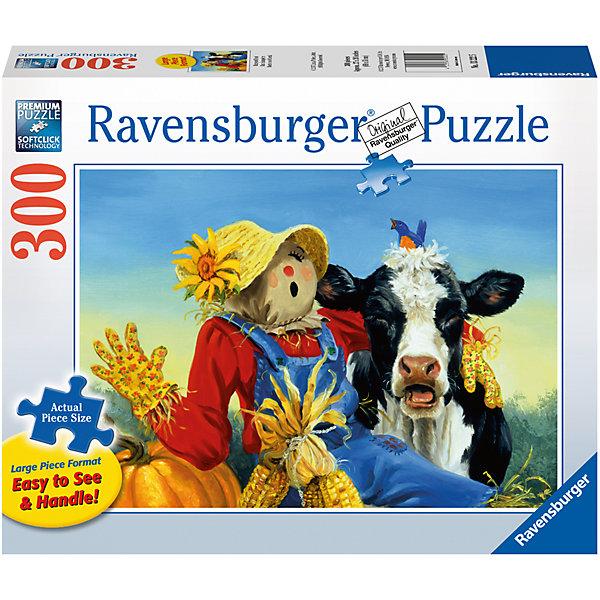 Пазл «Обитатели фермы» XXL 300 штПазлы до 500 деталей<br>Характеристики:<br><br>• тип игрушки: пазл;<br>• комплектация: 300 эл;<br>• размер картинки: 68х50 см;<br>• бренд: Ravensburger;<br>• упаковка: картон;<br>• размер: 34х4х23 см;<br>• вес: 516 гр;<br>• возраст: от 6 лет;<br>• материал: картон.<br><br>Пазл «Обитатели фермы» XXL 300 шт представляет из себя увлекательную игру для детей от шести лет. Набор состоит из 300 деталей, выполненных из высококачественного картона. Из них предлагается собрать изображение веселого соломенного чучела и коровки черно-белого окраса. Веселые обитатели фермы изображены на фоне пшеничного поля. Головоломки Ravensburger всегда отличаются высоким качеством полиграфии, изготовлены из экологичного сырья. Рисунок имеет матовую поверхность без бликов, напечатан на ламинированной бумаге. <br><br>Пазл сделан из плотного картона, с нанесением красочного рисунка и аккуратной вырубкой деталей с четкими гладкими краями, которые позволяют легко состыковывать элементы пазла между собой. Сборка данного пазла сможет увлечь детей и поспособствовать развитию логического мышления и усидчивости.  Они также развивают образное мышление, наблюдательность и внимательность, а также мелкую моторику и координацию движений рук.<br><br>Пазл «Обитатели фермы» XXL 300 шт можно купить в нашем интернет-магазине.<br>Ширина мм: 340; Глубина мм: 40; Высота мм: 230; Вес г: 516; Возраст от месяцев: -2147483648; Возраст до месяцев: 2147483647; Пол: Унисекс; Возраст: Детский; SKU: 7376934;