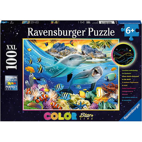 Пазл светящийся «Коралловый риф» XXL 100 штПазлы до 100 деталей<br>Характеристики:<br><br>• тип игрушки: пазл;<br>• комплектация: 100 эл;<br>• размер картинки: 49х36 см;<br>• бренд: Ravensburger;<br>• упаковка: картон;<br>• размер: 34х4х23 см;<br>• вес: 570 гр;<br>• возраст: от 6 лет;<br>• материал: картон.<br><br>Пазл светящийся «Коралловый риф» XXL 100 шт представляет из себя увлекательную игру для детей от шести лет. Набор состоит из 100 деталей, выполненных из высококачественного картона. Из них предлагается собрать изображение кораллового рифа и всех его обитателей, таких как дельфины, рыбы клоуны и многих других. Кроме того, собранный пазл светится в темноте мягким приятным светом. <br><br>Головоломки Ravensburger всегда отличаются высоким качеством полиграфии, изготовлены из экологичного сырья. Рисунок имеет матовую поверхность без бликов, напечатан на ламинированной бумаге. Пазл сделан из плотного картона, с нанесением красочного рисунка и аккуратной вырубкой деталей с четкими гладкими краями, которые позволяют легко состыковывать элементы пазла между собой. <br>Сборка данного пазла сможет увлечь детей и поспособствовать развитию логического мышления и усидчивости.  Они также развивают образное мышление, наблюдательность и внимательность, а также мелкую моторику и координацию движений рук.<br><br>Пазл светящийся «Коралловый риф» XXL 100 шт можно купить в нашем интернет-магазине.<br>Ширина мм: 340; Глубина мм: 40; Высота мм: 230; Вес г: 570; Возраст от месяцев: -2147483648; Возраст до месяцев: 2147483647; Пол: Унисекс; Возраст: Детский; SKU: 7376939;