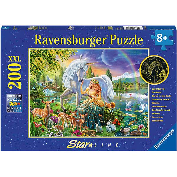 Пазл светящийся «Сказочная красота» XXL 200 штПазлы классические<br>Характеристики:<br><br>• тип игрушки: пазл;<br>• комплектация: 200 эл;<br>• размер картинки: 49х36 см;<br>• бренд: Ravensburger;<br>• упаковка: картон;<br>• размер: 34х4х23 см;<br>• вес: 572 гр;<br>• возраст: от 6 лет;<br>• материал: картон.<br><br>Пазл светящийся «Сказочная красота» XXL 200 шт представляет из себя увлекательную игру для детей от шести лет. Набор состоит из 200 деталей, выполненных из высококачественного картона. Из них предлагается собрать изображение единорога и прекрасной феи, которые встретились в прекрасном фантастическом лесу с причудливыми растениями и насекомыми. Кроме того, собранный пазл светится в темноте мягким приятным светом. <br><br>Головоломки Ravensburger всегда отличаются высоким качеством полиграфии, изготовлены из экологичного сырья. Рисунок имеет матовую поверхность без бликов, напечатан на ламинированной бумаге. Пазл сделан из плотного картона, с нанесением красочного рисунка и аккуратной вырубкой деталей с четкими гладкими краями, которые позволяют легко состыковывать элементы пазла между собой. <br><br>Сборка данного пазла сможет увлечь детей и поспособствовать развитию логического мышления и усидчивости.  Они также развивают образное мышление, наблюдательность и внимательность, а также мелкую моторику и координацию движений рук.<br><br>Пазл светящийся «Сказочная красота» XXL 200 шт можно купить в нашем интернет-магазине.<br>Ширина мм: 340; Глубина мм: 40; Высота мм: 230; Вес г: 572; Возраст от месяцев: -2147483648; Возраст до месяцев: 2147483647; Пол: Унисекс; Возраст: Детский; SKU: 7376941;