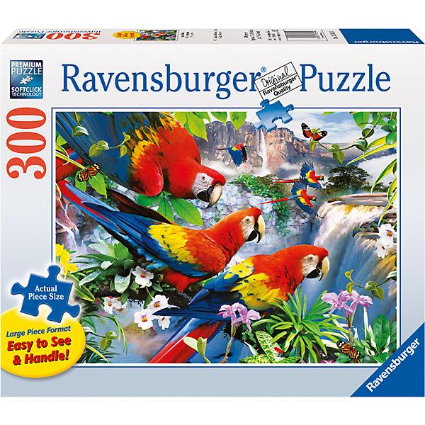 Пазл «Попугаи Ара» 300 штПазлы классические<br>Характеристики:<br><br>• тип игрушки: пазл;<br>• комплектация: 300 эл;<br>• размер картинки: 68х50 см;<br>• бренд: Ravensburger;<br>• упаковка: картон;<br>• размер: 34х6х23 см;<br>• вес: 928 гр;<br>• возраст: от 6 лет;<br>• материал: картон.<br><br>Пазл «Попугаи Ара» 300 элемента представляет из себя увлекательную игру для детей от шести лет. Набор состоит из 300 деталей, выполненных из высококачественного картона. Из них предлагается собрать изображение целой стаи попугаев породы ара, которые собрались в джунглях у красивого водопада.      <br><br>Головоломки Ravensburger всегда отличаются высоким качеством полиграфии, изготовлены из экологичного сырья. Рисунок имеет матовую поверхность без бликов, напечатан на ламинированной бумаге. Пазл сделан из плотного картона, с нанесением красочного рисунка и аккуратной вырубкой деталей с четкими гладкими краями, которые позволяют легко состыковывать элементы пазла между собой. <br><br>Сборка данного пазла сможет увлечь детей и поспособствовать развитию логического мышления и усидчивости.  Они также развивают образное мышление, наблюдательность и внимательность, а также мелкую моторику и координацию движений рук.<br><br>Пазл «Попугаи Ара» 300 элемента можно купить в нашем интернет-магазине.<br>Ширина мм: 340; Глубина мм: 60; Высота мм: 230; Вес г: 928; Возраст от месяцев: -2147483648; Возраст до месяцев: 2147483647; Пол: Унисекс; Возраст: Детский; SKU: 7376952;