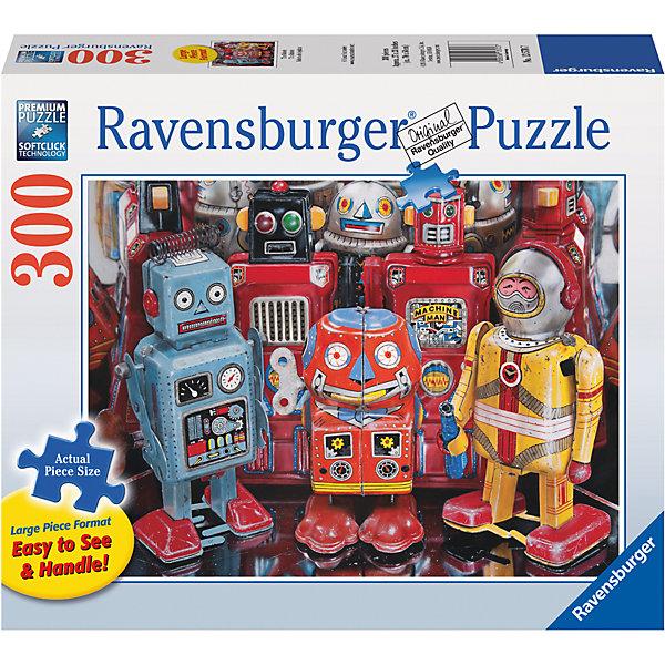Пазл «Роботы»  300 шт #Пазлы до 500 деталей<br>Характеристики:<br><br>• тип игрушки: пазл;<br>• комплектация: 300 эл;<br>• размер картинки: 68х50 см;<br>• бренд: Ravensburger;<br>• упаковка: картон;<br>• размер: 34х6х23 см;<br>• вес: 889 гр;<br>• возраст: от 6 лет;<br>• материал: картон.<br><br>Пазл «Роботы» 300 элемента представляет из себя увлекательную игру для детей от шести лет. Набор состоит из 300 деталей, выполненных из высококачественного картона. Из них предлагается собрать изображение восьми причудливых роботов, которые словно стоят и ждут, пока им отдадут команды.            <br>Головоломки Ravensburger всегда отличаются высоким качеством полиграфии, изготовлены из экологичного сырья. Рисунок имеет матовую поверхность без бликов, напечатан на ламинированной бумаге. Пазл сделан из плотного картона, с нанесением красочного рисунка и аккуратной вырубкой деталей с четкими гладкими краями, которые позволяют легко состыковывать элементы пазла между собой. <br>Сборка данного пазла сможет увлечь детей и поспособствовать развитию логического мышления и усидчивости.  Они также развивают образное мышление, наблюдательность и внимательность, а также мелкую моторику и координацию движений рук.<br>Пазл «Роботы» 300 элемента можно купить в нашем интернет-магазине.<br>Ширина мм: 340; Глубина мм: 60; Высота мм: 230; Вес г: 889; Возраст от месяцев: -2147483648; Возраст до месяцев: 2147483647; Пол: Унисекс; Возраст: Детский; SKU: 7376958;