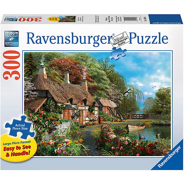 Пазл «Дом у озера»  300 штПазлы классические<br>Характеристики:<br><br>• тип игрушки: пазл;<br>• комплектация: 300 эл;<br>• размер картинки: 68х50 см;<br>• бренд: Ravensburger;<br>• упаковка: картон;<br>• размер: 34х6х23 см;<br>• вес: 884 гр;<br>• возраст: от 6 лет;<br>• материал: картон.<br><br>Пазл «Дом у озера» 300 элемента представляет из себя увлекательную игру для детей от шести лет. Набор состоит из 300 деталей, выполненных из высококачественного картона. Из них предлагается собрать изображение красивого небольшого домика у озера. Возле озера есть лодочка, а сам домик окружает красивый и густой лес.                <br>Головоломки Ravensburger всегда отличаются высоким качеством полиграфии, изготовлены из экологичного сырья. Рисунок имеет матовую поверхность без бликов, напечатан на ламинированной бумаге. Пазл сделан из плотного картона, с нанесением красочного рисунка и аккуратной вырубкой деталей с четкими гладкими краями, которые позволяют легко состыковывать элементы пазла между собой. <br>Сборка данного пазла сможет увлечь детей и поспособствовать развитию логического мышления и усидчивости.  Они также развивают образное мышление, наблюдательность и внимательность, а также мелкую моторику и координацию движений рук.<br>Пазл «Дом у озера» 300 элемента можно купить в нашем интернет-магазине.<br>Ширина мм: 340; Глубина мм: 60; Высота мм: 230; Вес г: 884; Возраст от месяцев: -2147483648; Возраст до месяцев: 2147483647; Пол: Унисекс; Возраст: Детский; SKU: 7376962;