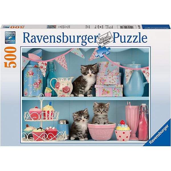 Пазл Котята и кексы 500 штПазлы до 500 деталей<br>Характеристики:<br><br>• тип игрушки: пазл;<br>• комплектация: 500 эл;<br>• бренд: Ravensburger;<br>• упаковка: картон;<br>• размер: 34х4х23 см;<br>• вес: 583 гр;<br>• возраст: от 6 лет;<br>• материал: картон.<br><br>Пазл «Котята и кексы» 500 элементов представляет из себя увлекательную игру для детей от шести лет. Набор состоит из 500 деталей, выполненных из высококачественного картона. Из них предлагается собрать изображение трех котят, которые залезли на полку с кексми и другими сладостями. Картина получится настолько яркой и красочной, что неизменно будет радовать глаз и украсит любой интерьер.        <br>Головоломки Ravensburger всегда отличаются высоким качеством полиграфии, изготовлены из экологичного сырья. Собранный пазл будет иметь матовую поверхность без бликов, потому как напечатан на качественной ламинированной бумаге. Пазл сделан из плотного картона, с нанесением красочного рисунка и аккуратной вырубкой деталей с четкими гладкими краями, которые позволяют легко состыковывать элементы пазла между собой. Сборка данного пазла сможет увлечь детей и поспособствовать развитию логического мышления и усидчивости.  Они также развивают образное мышление, наблюдательность и внимательность, а также мелкую моторику и координацию движений рук.<br>Пазл «Котята и кексы» 500 элементов можно купить в нашем интернет-магазине.<br>Ширина мм: 340; Глубина мм: 40; Высота мм: 230; Вес г: 583; Возраст от месяцев: -2147483648; Возраст до месяцев: 2147483647; Пол: Унисекс; Возраст: Детский; SKU: 7376994;