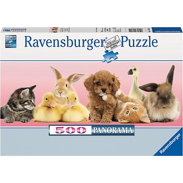 Пазл панорамный «Друзья» 500 штПазлы до 500 деталей<br>Характеристики:<br><br>• тип игрушки: пазл;<br>• комплектация: 500 эл.;<br>• бренд: Ravensburger;<br>• упаковка: картон;<br>• размер: 34х4х23 см;<br>• вес: 567 гр;<br>• возраст: от 4 лет;<br>• материал: картон.<br><br>Пазл панорамный «Друзья» 500 шт представляет из себя увлекательную игру для детей от четырех лет. Набор состоит из 500 деталей, выполненных из высококачественного картона. Из них предлагается собрать  изображение панорамного вида. На картине есть щенок, котята, кролики, утята и даже гусенок. <br> <br>Пазл сделан из плотного картона, с нанесением яркого красочного рисунка и аккуратной вырубкой деталей с четкими гладкими краями, которые позволяют легко состыковывать элементы пазла между собой. Сборка данного пазла сможет увлечь детей и поспособствовать развитию логического мышления и усидчивости.  Они также развивают образное мышление, наблюдательность и внимательность, а также мелкую моторику и координацию движений рук. Собранную картинку можно поместить в рамку и использовать ее в качестве украшения интерьера.<br><br>Пазл панорамный «Друзья» 500 шт можно купить в нашем интернет-магазине.<br>Ширина мм: 340; Глубина мм: 40; Высота мм: 230; Вес г: 567; Возраст от месяцев: -2147483648; Возраст до месяцев: 2147483647; Пол: Унисекс; Возраст: Детский; SKU: 7377015;