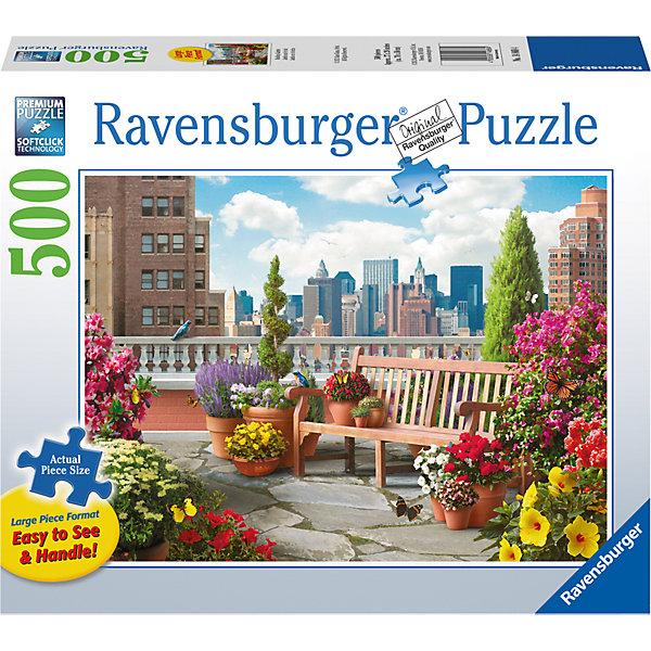 Пазл «Сад на крыше» 500 штПазлы классические<br>Характеристики:<br><br>• тип игрушки: пазл;<br>• комплектация: 500 эл;<br>• бренд: Ravensburger;<br>• упаковка: картон;<br>• размер: 34х4х23 см;<br>• вес: 919 гр;<br>• возраст: от 6 лет;<br>• материал: картон.<br><br>Пазл «Сад на крыше» 500 элементов представляет из себя увлекательную игру для детей от шести лет. Набор состоит из 500 деталей, выполненных из высококачественного картона. Из них предлагается собрать изображение прекрасного сада, который расположен на крыше мнооэтажного здания. С крыши открывается вид не только на сад, но и на весь мгаполис. Такой пейзаж станет отличным украшением любого интерьера.      <br>Головоломки Ravensburger всегда отличаются высоким качеством полиграфии, изготовлены из экологичного сырья. Собранный пазл будет иметь матовую поверхность без бликов, потому как напечатан на качественной ламинированной бумаге. Пазл сделан из плотного картона, с нанесением красочного рисунка и аккуратной вырубкой деталей с четкими гладкими краями, которые позволяют легко состыковывать элементы пазла между собой. Сборка данного пазла сможет увлечь детей и поспособствовать развитию логического мышления и усидчивости.  Они также развивают образное мышление, наблюдательность и внимательность, а также мелкую моторику и координацию движений рук.<br>Пазл «Сад на крыше» 500 элементов можно купить в нашем интернет-магазине.<br>Ширина мм: 340; Глубина мм: 40; Высота мм: 230; Вес г: 919; Возраст от месяцев: -2147483648; Возраст до месяцев: 2147483647; Пол: Унисекс; Возраст: Детский; SKU: 7377018;