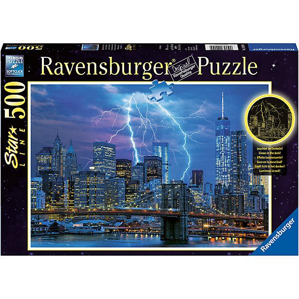 Пазл «Молния над Нью-Йорком» 500 штПазлы до 500 деталей<br>Характеристики:<br><br>• тип игрушки: пазл;<br>• комплектация: 500 эл.;<br>• бренд: Ravensburger;<br>• упаковка: картон;<br>• размер: 34х4х23 см;<br>• вес: 570 гр;<br>• возраст: от 4 лет;<br>• материал: картон.<br><br>Пазл «Молния над Нью-Йорком» 500 шт представляет из себя увлекательную игру для детей от четырех лет. Набор состоит из 500 деталей, выполненных из высококачественного картона. Из них предлагается собрать  изображение ночного Нью-Йорка.<br><br>Пазл сделан из плотного картона, с нанесением яркого красочного рисунка и аккуратной вырубкой деталей с четкими гладкими краями, которые позволяют легко состыковывать элементы пазла между собой. Сборка данного пазла сможет увлечь детей и поспособствовать развитию логического мышления и усидчивости.  Они также развивают образное мышление, наблюдательность и внимательность, а также мелкую моторику и координацию движений рук. Собранную картинку можно поместить в рамку и использовать ее в качестве украшения интерьера.<br><br>Пазл «Молния над Нью-Йорком» 500 шт можно купить в нашем интернет-магазине.<br>Ширина мм: 340; Глубина мм: 40; Высота мм: 230; Вес г: 571; Возраст от месяцев: -2147483648; Возраст до месяцев: 2147483647; Пол: Унисекс; Возраст: Детский; SKU: 7377027;