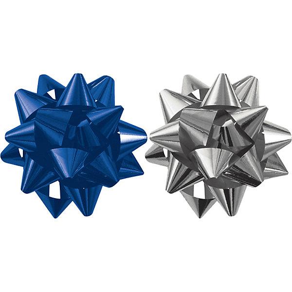 Regalissimi Бант-звезда, 2 штуки в PP пакете с подвесом (синий, серебряный) букет льдинки из 6 цветков в пакете с подвесом красные ягоды 14 00530 b39