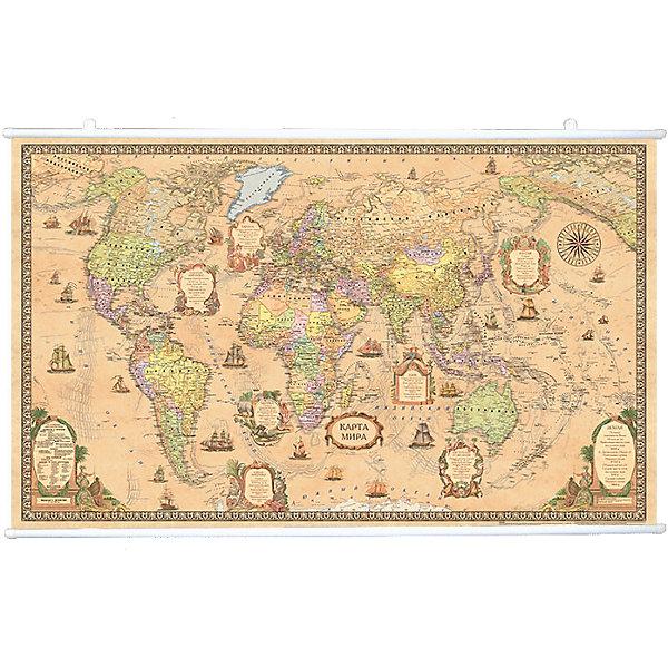 Карта Мира, Политическая, Стиль Ретро, 1:25М на рейкахАтласы и карты<br>Характеристики:<br><br>• возраст: от 3 лет;<br>• материал: ламинированная бумага;<br>• масштаб: 1:25 000 000;<br>• крепление: рейки, крючки;<br>• упаковка: картонный тубус;<br>• размер: 122х79 см;<br>• вес упаковки: 702 гр.;<br>• размер упаковки: 130х5,6х5,6 см;<br>• издательство: DMB;<br>• страна производитель: Россия.<br><br>Современная карта мира в ретро оформлении — отличное настенное украшение для дома или офиса. Крепление легко осуществляется с помощью реек с крючками. Политическая карта с отображением стран, столиц, больших городов поможет в изучении названий населенных пунктов Земли и их принадлежности. <br><br>Изучение географии расширяет кругозор и тренирует память. Ламинированное покрытие с антибликом бережет карту от выцветания и порчи. Для удобной переноски предусмотрен твердый тубус из картона.<br><br>Карту мира, политическую, стиль ретро, 1:25М на рейках можно купить к нашем интернет-магазине.<br>Ширина мм: 1300; Глубина мм: 56; Высота мм: 56; Вес г: 702; Возраст от месяцев: 36; Возраст до месяцев: 144; Пол: Унисекс; Возраст: Детский; SKU: 7378620;
