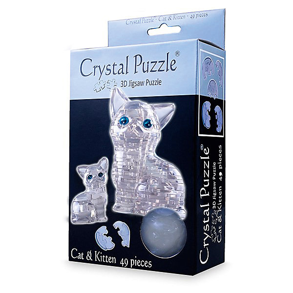 Crystal Puzzle Головоломка КОШКА СЕРЕБРИСТАЯ 3d apple brain teaser crystal puzzle iq toy color asserted 2 l736