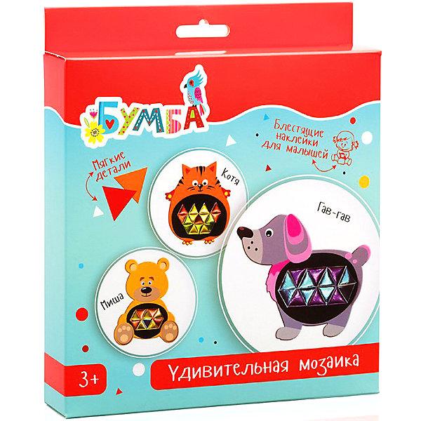 Удивительная мозаика с фольгированными наклейками ЗверюшкиКартины пайетками<br>Характеристики:<br><br>• возраст: от 3 лет;<br>• материал: бумага, картон;<br>• в комплекте: основа для мозаики с персонажами 3 шт., лист с цветными наклейками из фольги;<br>• вес упаковки: 128 гр.;<br>• размер упаковки: 23х20х3,5 см;<br>• страна производитель: Россия.<br><br>Мозаика с фольгированными наклейками «Зверюшки» от «Бумбарам» позволит малышу преобразить ярких персонажей по собственному желанию. Все, что для этого нужно — взять основу с животным и наклеить на нее цветные переливающиеся наклейки.<br><br>Готовый результат зависит только от фантазии ребенка. Картинки станут замечательным украшением детской комнаты или послужат трогательным подарком близким.<br><br>Занятия с мозаикой развивают воображение и творческое мышление. Кроха придет восторг от возможности сделать все самому!<br><br>Удивительную мозаику с фольгированными наклейками «Зверюшки» можно купить в нашем интернет-магазине.<br>Ширина мм: 230; Глубина мм: 200; Высота мм: 35; Вес г: 128; Возраст от месяцев: 36; Возраст до месяцев: 2147483647; Пол: Унисекс; Возраст: Детский; SKU: 7378713;