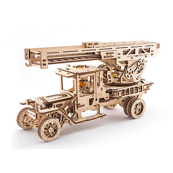 Конструктор 3D-пазл Ugears - Пожарная лестницаДеревянные модели<br>Характеристики товара:<br><br>• длина выдвижной лестницы: 70 см;<br>• количество деталей: 537;<br>• возраст: от 14 лет;<br>• материал: фанера;<br>• время сборки: 14-16 часов;<br>• размер модели: 34,5х20х12,5 см;<br>• размер упаковки: 37,2х17х5,7 см;<br>• страна бренда: Украина.<br><br>Конструктор 3D-пазл «Пожарная лестница» состоит из 537 деталей, изготовленных из высококачественной, экологически чистой древесины. Все детали вырезаны и уже готовы к работе. Для соединения элементов не требуется применение клея. Рекомендуется собрать отдельные части фигуры, а затем соединить их в целую фигурку. В комплект входит инструкция с подробным описанием процесса сборки.<br><br>Фигурка «Пожарная лестница» обладает подвижными элементами, способна передвигаться. Лестница выдвигается до 70 сантиметров в длину, поворачивается влево и вправо. Специальный крючок с краю позволит конструкции поднимать небольшие грузы. Машина имеет три режима передвижения: холостой ход, вперед и назад. Поворачивать пожарную лестницу можно с помощью руля.<br><br>Конструктор 3D-пазл Ugears (Югерс) - Пожарная лестница можно купить в нашем интернет-магазине.<br>Ширина мм: 372; Глубина мм: 170; Высота мм: 57; Вес г: 1823; Возраст от месяцев: 168; Возраст до месяцев: 2147483647; Пол: Унисекс; Возраст: Детский; SKU: 7378817;