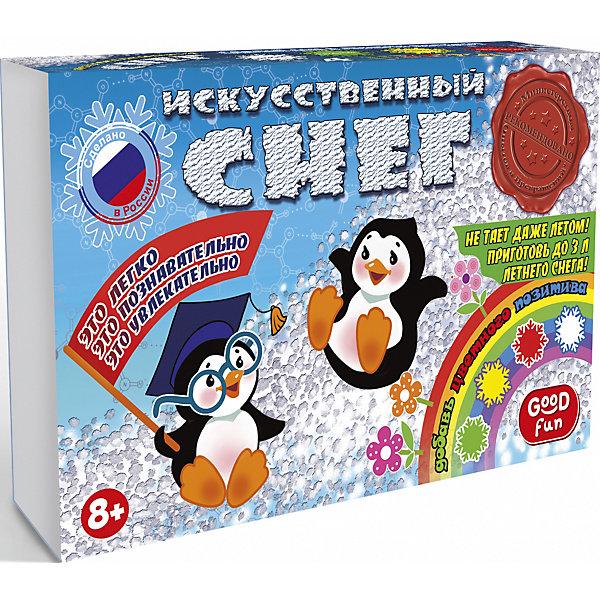 Набор для опытов GOOD FUN Искусственный снег. Большой наборХимия и физика<br>Характеристики:<br><br>• возраст: от 8 лет<br>• в наборе: полиакрилат натрия; красители; мерный стакан; 4 формы для снега; мерная ложечка; перчатки; инструкция.<br>• упаковка: картонная коробка<br>• размер упаковки: 17х28х8 см.<br>• вес: 389 гр.<br><br>С большим набором для опытов «Искусственный снег» от Good Fun (Гуд Фан) можно провести незабываемый эксперимент и увидеть своими глазами, как полимерный порошок за три минуты превращается в рассыпчатый сугроб.<br><br>Большой набор позволит юному экспериментатору приготовить своими руками не только традиционный белый, но и экзотический цветной снег: красный, зеленый и даже желтый. Опыт несложен в проведении, так что ребенок вполне справится с ним самостоятельно. Превращение основано на уникальных абсорбирующих свойствах полиакрилата натрия, который способен поглощать объем жидкости в 200-300 раз больше собственной массы.<br><br>Полученный искусственный снег безопасен для здоровья. Он не тает и может использоваться для декорирования поделок.<br><br>Набор для опытов GOOD FUN «Искусственный снег. Большой набор» можно купить в нашем интернет-магазине.<br>Ширина мм: 170; Глубина мм: 280; Высота мм: 80; Вес г: 389; Возраст от месяцев: 96; Возраст до месяцев: 2147483647; Пол: Унисекс; Возраст: Детский; SKU: 7379048;
